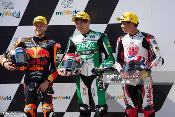 Brad Binder of South Africa and Red Bull KTM Ajo, Tetsuta Nagashima of Japan and Onexox TKKR Sag Team and Somkiat Chantra of Thailand and Idemitsu...