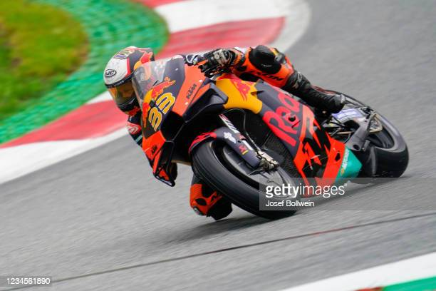 Brad Binder of South Africa and Red Bull KTM Factory Racing during the MotoGP of Styria Warm up at Red Bull Ring on August 8, 2021 in Spielberg,...