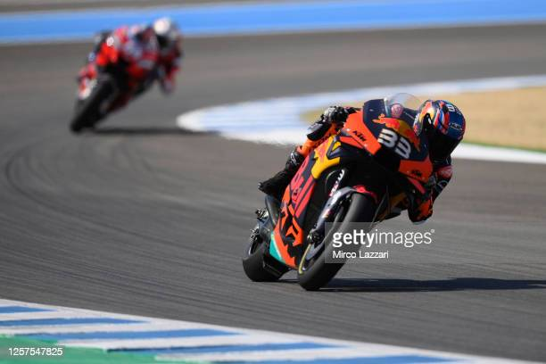 Brad Binder of South Africa and Red Bull KTM Factory Racing heads down a straight during the MotoGP Tests In Jerez at Circuito de Jerez on July 15,...