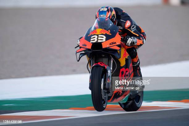 Brad Binder of South Africa and Red Bull KTM Factory Racing heads down a straight during the qualifying for the MotoGP of Europe at Comunitat...