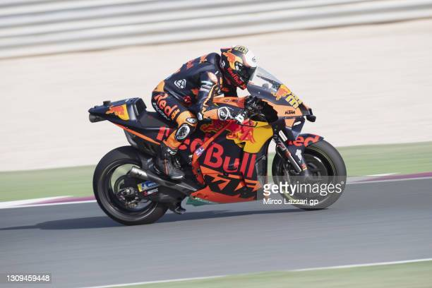 Brad Binder of South Africa and Red Bull KTM Factory Racing heads down a straight during the MotoGP of Qatar - Qualifying at Losail Circuit on March...