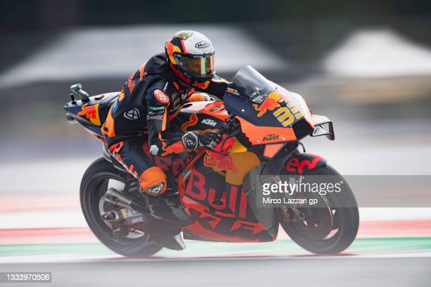 Brad Binder of South Africa and Red Bull KTM Factory Racing heads down a straight during the MotoGP of Austria - Free Practice at Red Bull Ring on...