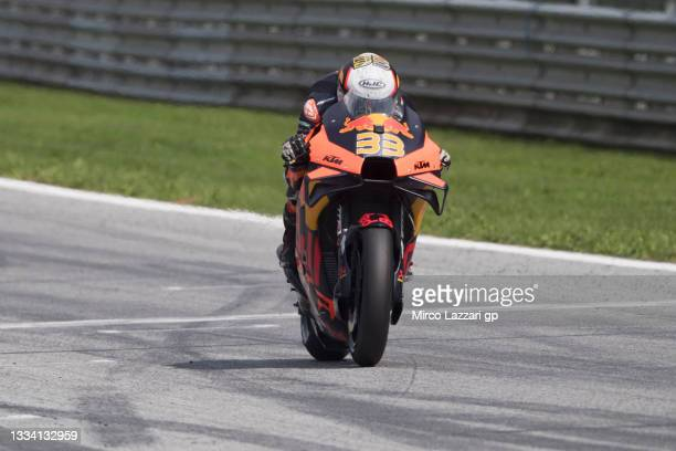 Brad Binder of South Africa and Red Bull KTM Factory Racing heads down a straight during the MotoGP of Austria - Qualifying at Red Bull Ring on...