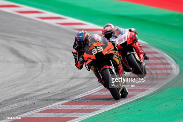 Brad Binder of South Africa and Red Bull KTM Factory Racing leads the field during the MotoGP Of Austria - Free Practice at Red Bull Ring on August...