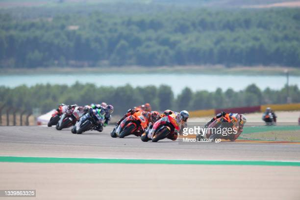 Brad Binder of South Africa and Red Bull KTM Factory Racing leads the field during the MotoGP race during the MotoGP of Aragon - Race at Motorland...
