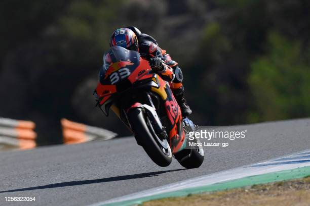 Brad Binder of South Africa and Red Bull KTM Factory Racing lifts the front wheel during the MotoGP tests at the Circuito de Jerez on July 15, 2020...