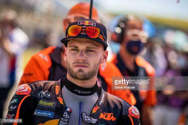 Brad Binder of South Africa and Red Bull KTM Factory Racing looks at the starting grid before the race at Circuito de Jerez on May 02, 2021 in Jerez...