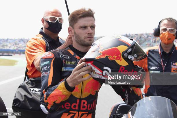 Brad Binder of South Africa and Red Bull KTM Factory Racing prepares to start on the grid during the MotoGP race during the MotoGP of Netherlands -...