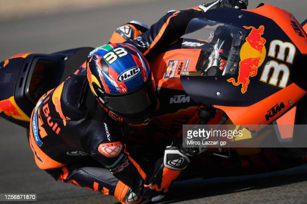 Brad Binder of South Africa and Red Bull KTM Factory Racing rounds the bend during the MotoGP of Spain - Qualifying at Circuito de Jerez on July 18,...