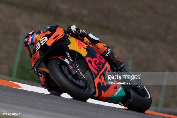 Brad Binder of South Africa and Red Bull KTM Factory Racing rounds the bend during the MotoGP Of Czech Republic - Free Practice at Brno Circuit on...
