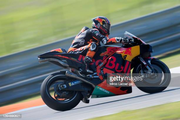 Brad Binder of South Africa and Red Bull KTM Factory Racing rounds the bend during the MotoGP Of Czech Republic - Qualifying Practice at Brno Circuit...