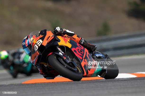 Brad Binder of South Africa and Red Bull KTM Factory Racing rounds the bend during the MotoGP race during the MotoGP Of Czech Republic at Brno...
