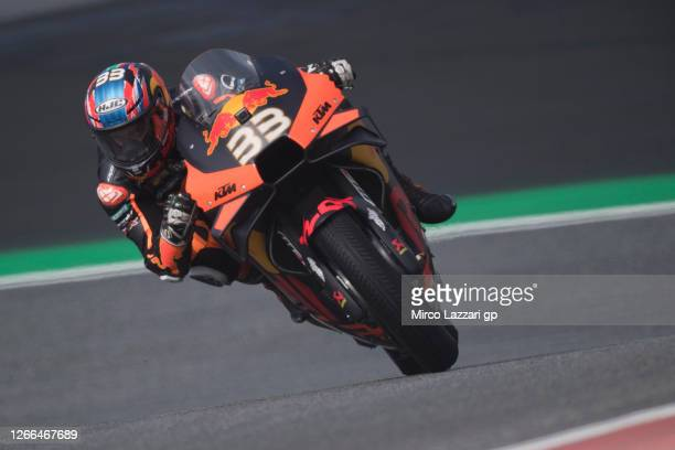 Brad Binder of South Africa and Red Bull KTM Factory Racing rounds the bend during the MotoGP Of Austria - Qualifying at Red Bull Ring on August 15,...