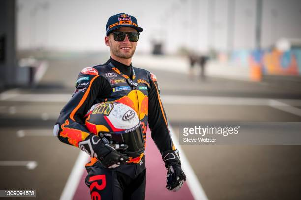 Brad Binder of South Africa and Red Bull KTM Factory Racing stands for a photo at the pitlane ahead of the MotoGP of Qatar at Losail Circuit on March...