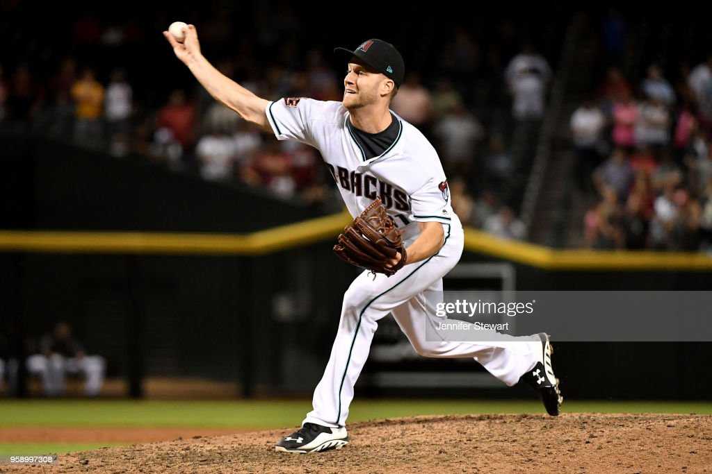 Brad Boxberger #31 of the Arizona Diamondbacks delivers a pitch in the ninth inning of the MLB game against the Milwaukee Brewers at Chase Field on May 15, 2018 in Phoenix, Arizona. The Arizona Diamondbacks won 2-1.