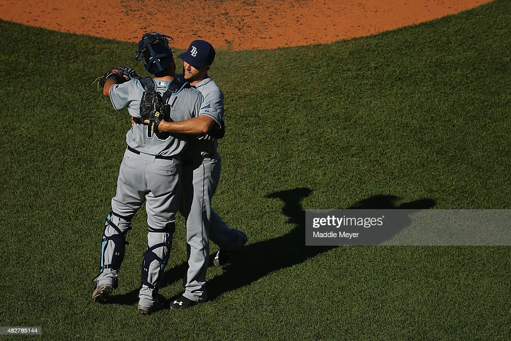 Brad Boxberger #26 of the Tampa Bay Rays and Curt Casali #19 celebrate their 4-3 win over the Boston Red Sox at Fenway Park on August 2, 2015 in Boston, Massachusetts.