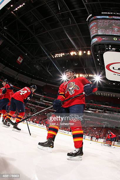Brad Boyes of the Florida Panthers warms up on the ice prior to the start of the game against the Washington Capitals at the BBT Center on December...
