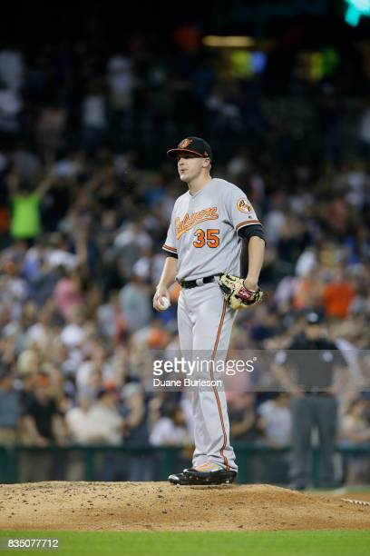 Brad Brach of the Baltimore Orioles after giving up a home run to JD Martinez of the Detroit Tigers at Comerica Park on May 16 2017 in Detroit...