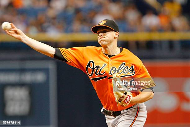 Brad Brach of the Baltimore Orioles delivers a pitch during bottom of the eighth inning of the Baltimore Orioles and the Tampa Bay Rays game at...