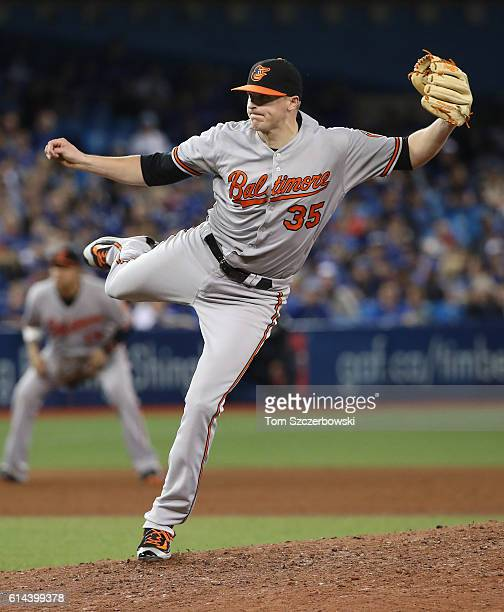 Brad Brach of the Baltimore Orioles delivers a pitch in the ninth inning during MLB game action against the Toronto Blue Jays on September 29 2016 at...