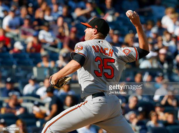 Brad Brach of the Baltimore Orioles in action against the New York Yankees at Yankee Stadium on September 17 2017 in the Bronx borough of New York...