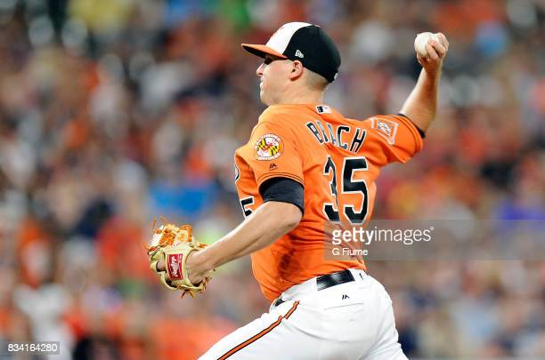 Brad Brach of the Baltimore Orioles pitches against the Detroit Tigers at Oriole Park at Camden Yards on August 5 2017 in Baltimore Maryland