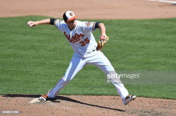 Brad Brach of the Baltimore Orioles pitches against the Los Angeles Angels at Oriole Park at Camden Yards on August 20 2017 in Baltimore Maryland