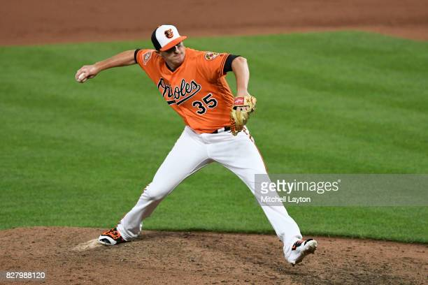 Brad Brach of the Baltimore Orioles pitches during a baseball game against the Detroit Tigers at Oriole Park at Camden Yards on August 5 2017 in...