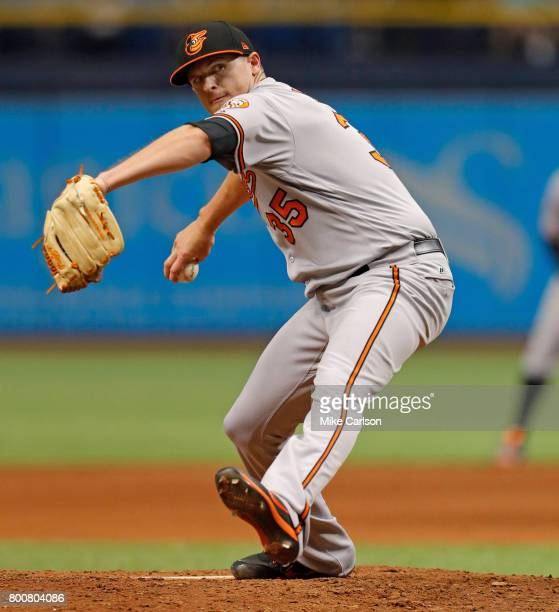 Brad Brach of the Baltimore Orioles pitches during the eighth inning of a game against the Tampa Bay Rays at Tropicana Field on June 25 2017 in St...