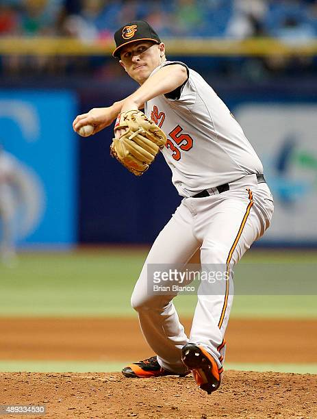 Brad Brach of the Baltimore Orioles pitches during the seventh inning of a game against the Tampa Bay Rays on September 20 2015 at Tropicana Field in...