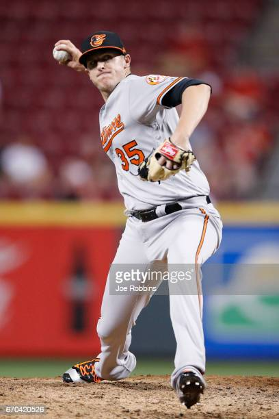 Brad Brach of the Baltimore Orioles pitches in the ninth inning of the game against the Cincinnati Reds at Great American Ball Park on April 19 2017...