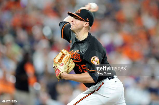Brad Brach of the Baltimore Orioles pitches in the ninth inning against the Boston Red Sox at Oriole Park at Camden Yards on June 2 2017 in Baltimore...
