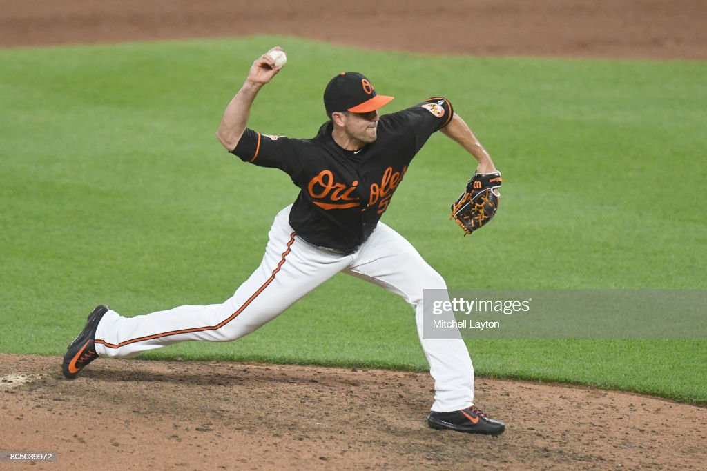 Brad Brach #35 of the Baltimore Orioles pitches in the tenth inning during a baseball game against the Tampa Bay Rays at Oriole Park at Camden Yards on June 30, 2017 in Baltimore, Maryland. The Rays won 6-4 in ten innings.