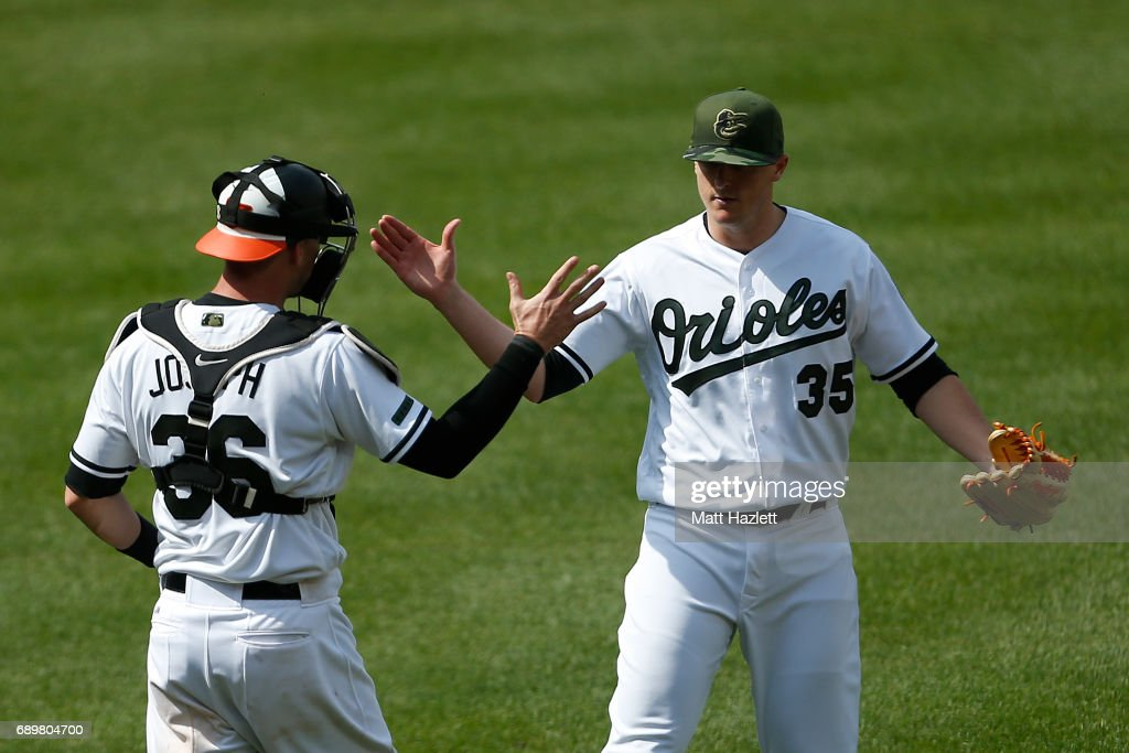Brad Brach #35 of the Baltimore Orioles reacts with teammate Caleb Joseph #36 after the Baltimore Orioles defeated the New York Yankees 3-2 at Oriole Park at Camden Yards on May 29, 2017 in Baltimore, Maryland. MLB players across the league are wearing special uniforms to commemorate Memorial Day.