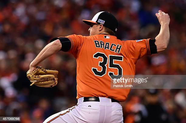 Brad Brach of the Baltimore Orioles throws a pitch in the fifth inning against the Kansas City Royals during Game Two of the American League...