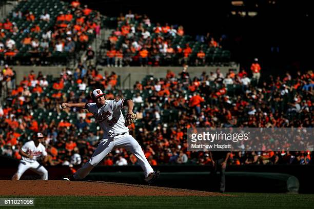 Brad Brach of the Baltimore Orioles works in the eighth inning against the Arizona Diamondbacks at Oriole Park at Camden Yards on September 25 2016...