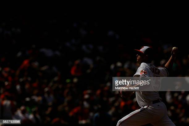 Brad Brach of the Baltimore Orioles works in the seventh inning against the Cleveland Indians at Oriole Park at Camden Yards on July 24 2016 in...