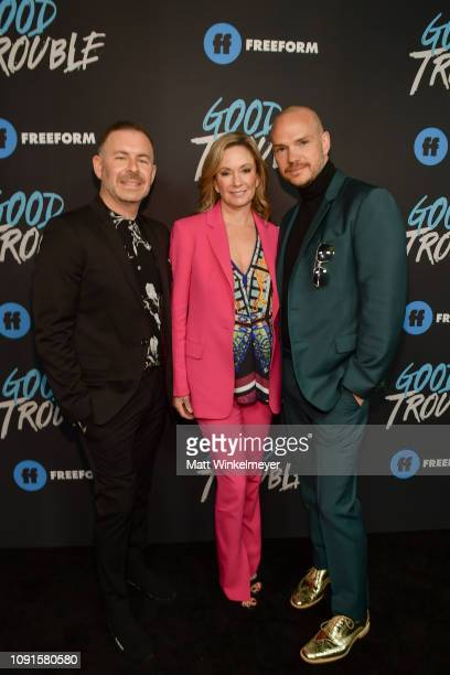 "Brad Bredeweg, Joanna Johnson, and Peter Paige attend the premiere of Freeform's ""Good Trouble"" at Palace Theatre on January 08, 2019 in Los Angeles,..."