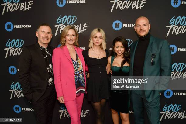 "Brad Bredeweg, Joanna Johnson, Maia Mitchell, Cierra Ramirez, and Peter Paige attend the premiere of Freeform's ""Good Trouble"" at Palace Theatre on..."