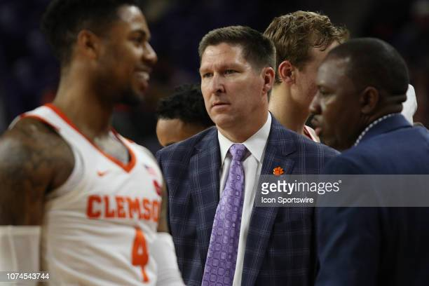 Brad Brownell head coach of Clemson during a time out during a college basketball game between the Charleston Southern Buccaneers and the Clemson...
