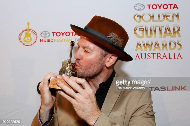Brad Butcher is named 'Qantaslink New Talent of the Year' during the 2018 Toyota Golden Guitar Awards on January 27 2018 in Tamworth Australia