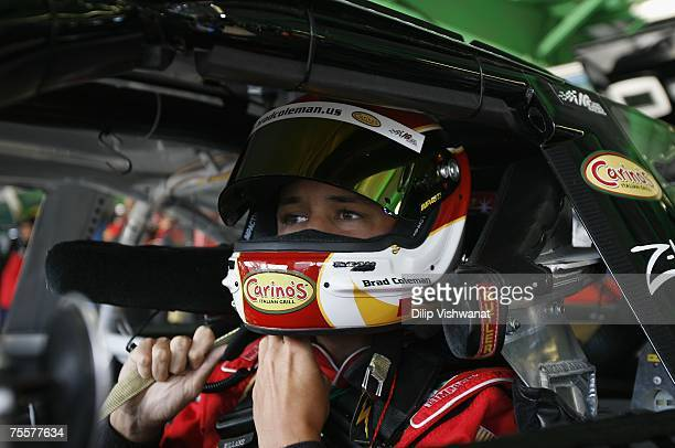 Brad Coleman of the Carino's Italian Grill Chevrolet team tightens his helmet strap prior to practice for the NASCAR Busch Series 250 on July 20 2007...