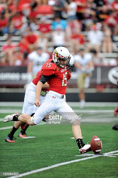 Brad Craddock of the Maryland Terrapins kicks the ball off against the William Mary Tribe at Byrd Stadium on September 1 2012 in College Park Maryland