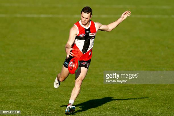 Brad Crouch of the Saints kicks the ball during a St Kilda Saints AFL training session at RSEA Park on June 03, 2021 in Melbourne, Australia.