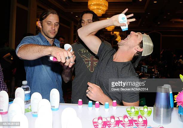Brad Cummings Jeff Coplan and Rob Blackledge of Blackjack Billy attend the 49th Annual Academy of Country Music Awards Gift Lounge at the MGM Grand...