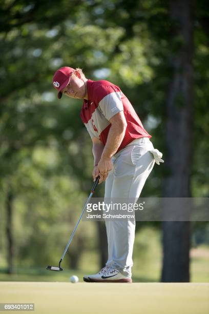 Brad Dalke of the University of Oklahoma sinks a putt during the Division I Men's Golf Team Championship held at Rich Harvest Farms on May 31 2017 in...