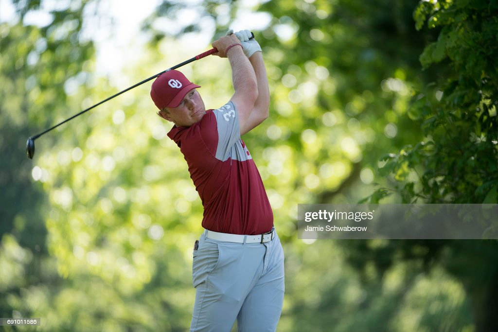 Brad Dalke of the University of Oklahoma tees off during the Division I Men's Golf Team Championship held at Rich Harvest Farms on May 31, 2017 in Sugar Grove, Illinois. Oklahoma won the team national title.