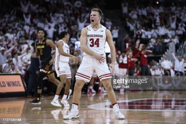 Brad Davison of the Wisconsin Badgers reacts in the second half against the Maryland Terrapins at the Kohl Center on February 01 2019 in Madison...