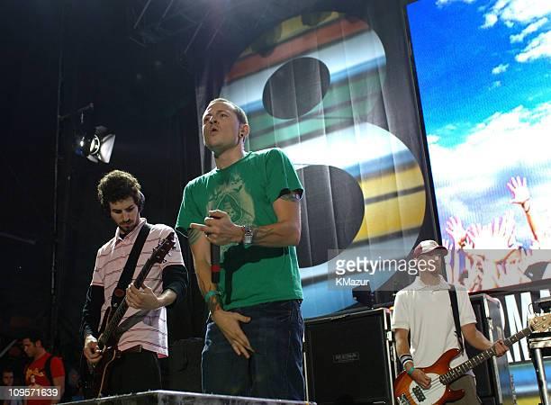 Brad Delson Chester Bennington and Phoenix Farrell of Linkin Park