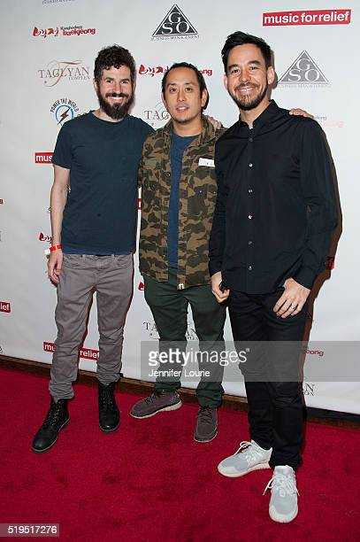 Brad Delson Joe Hahn and Mike Shinoda arrive at the Charity Poker Tournament to Benefit Music for Relief at the Taglyan Complex on March 31 2016 in...